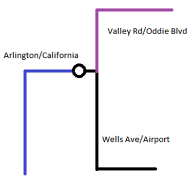 image:  A not to scale streetcar network plan for Reno